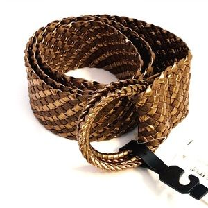 NWT Nordstrom Brown/Gold Braided Wide Belt S/M